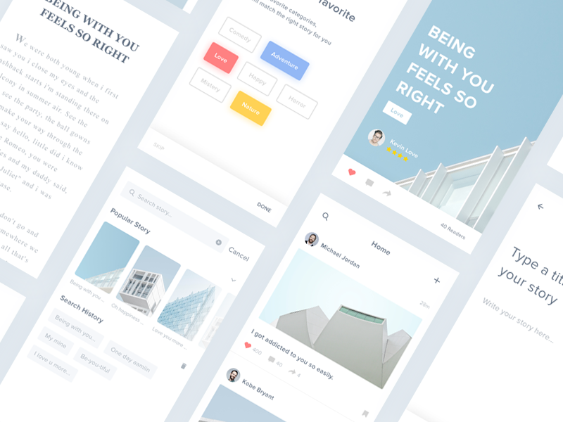 Story App - #Exploration ux ui story app story landing page ios illustration clean blog app android 2017