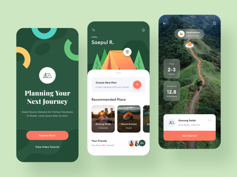 Camping App Design route backpakers application toglas typography icon pattern map travel camping camp mobile product design design illustration