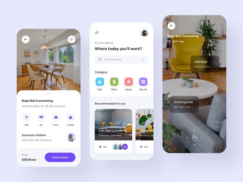 Co-working App - UI Design ux  ui typography product design mobile card business workspace office task design coffee cafe work co-working icons 360 toglas