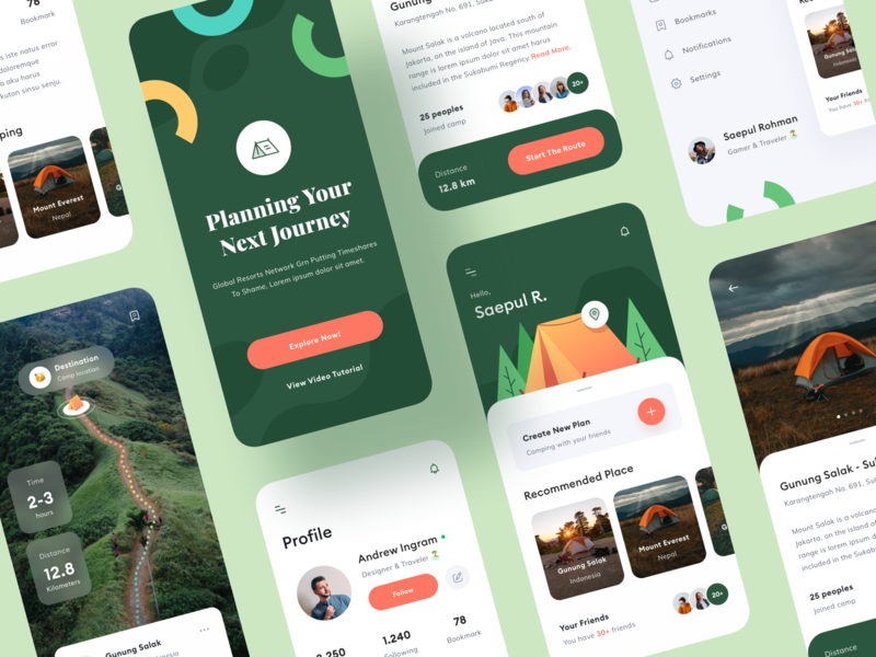 Camping App Design - UI Design side menu detail page route product design toglas profile pattern mobile map ios applicaiton icon design camping camp backpacker application