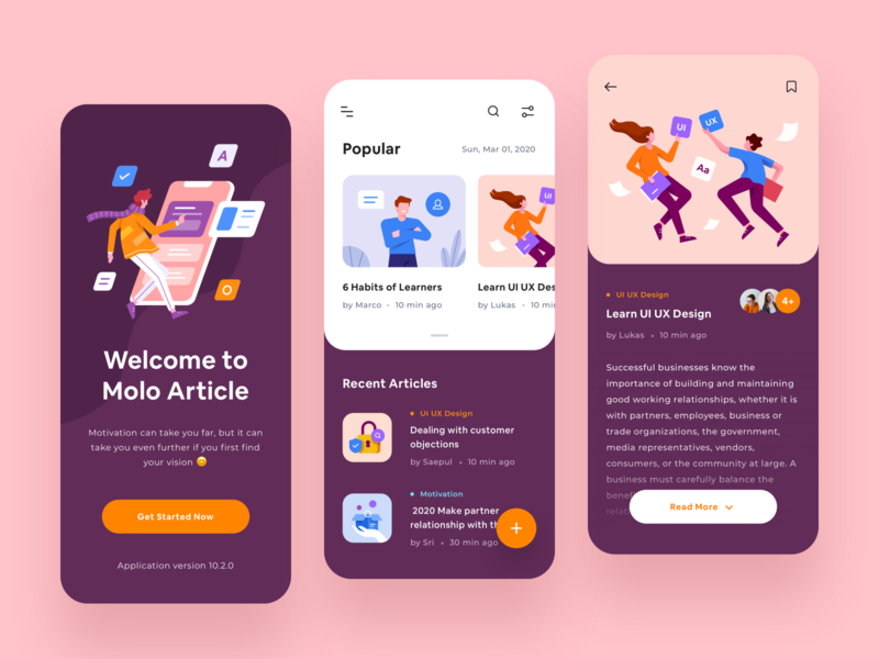 Article App - UI Design design bookmark filter profile dark typography app design blog read articles article character illustration ui product design mobile app