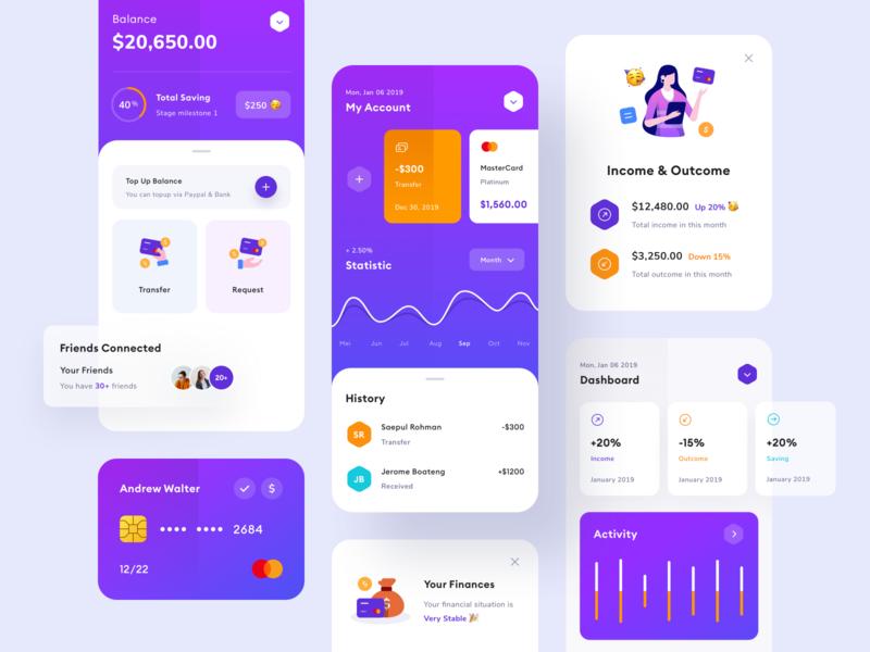 Finance App - UI Design bank app ui wallets transaction profile payment typography product design mobile illustration gradient finance credit card card branding