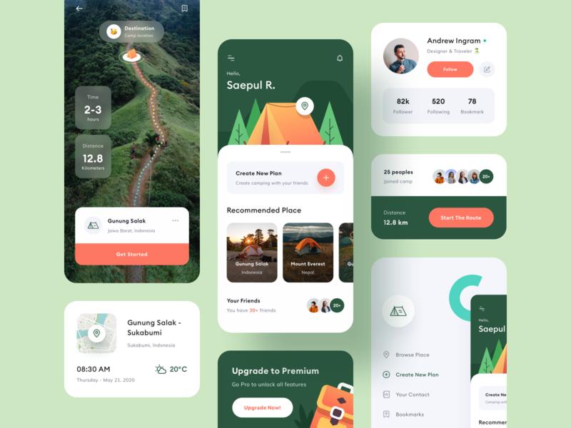 Camping App Design - UI Elements clean illustration application design andrew side menu route profile app design pattern mobile maps map detail page design camping camp backpacker application