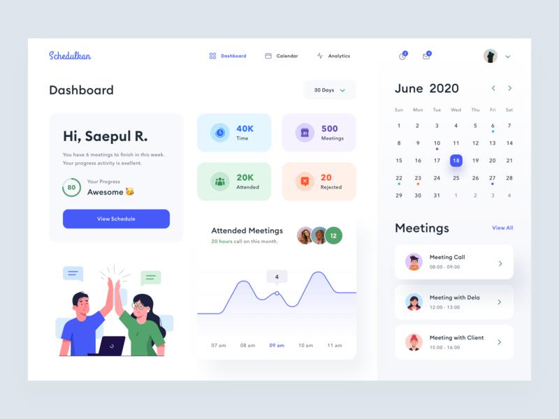 Schedule Dashboard Design v.2 reject meeting people task event webdesign typography schedule project manage illustration product desktop uidesign time date uiux ui dashboard calendar