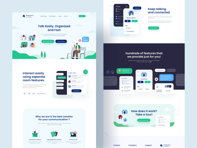 Tangkurak.io Landing page - Avatar illustrations 🤘 flat website ui typography talking talk tag product design platform people mobile message landing page illustration avatar icons ghost desktop dashboard chat avatar