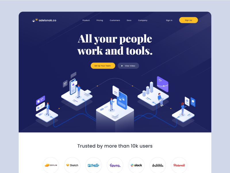 Adelonok.co - Landing Page 👑 ui typography desktop productdesign mobile logo partners graphic chart people work tools isometric people isometric illustration isometric icon illustration branding website design