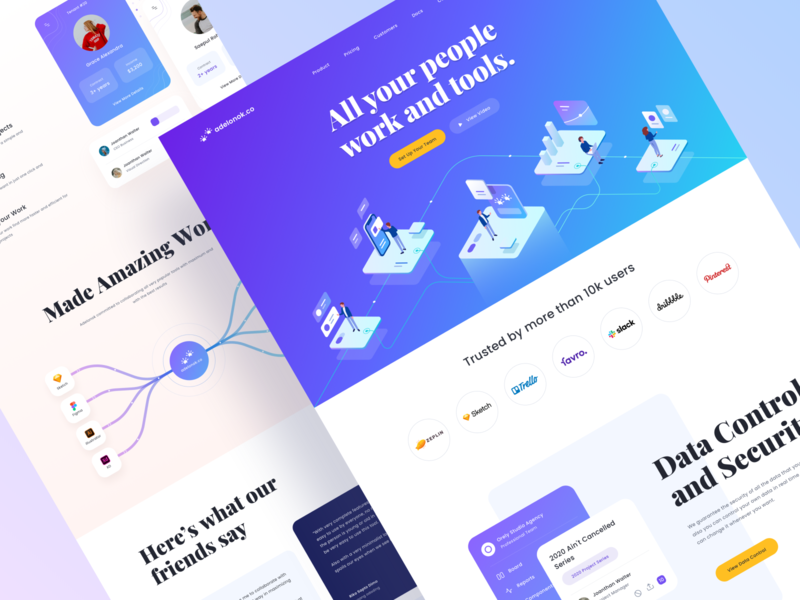 Adelonok.co - Landing Page 👑 tenant work website web design typography tools product design people partners mobile logo isometric people isometric illustration isometric illustration icon graphic desktop chart brand