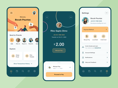 MonyetPay - App Design Exploration flat design typography creditcard bank history monkey transaction friend profile settings payment pay icons hand people illustration application app design mobile app