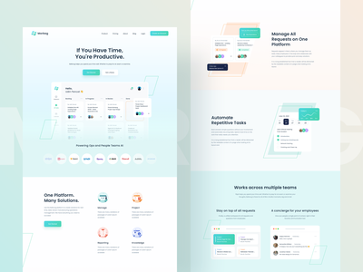 Morbag - Landing Page 👑 typography logo graphic ui components gradient product design dashboard dashboard ui icon illustrations desktop schedule task management task website design landingpage website