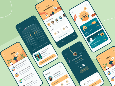 MonyetPay - App Design Exploration 🥳 typography transaction setting profile people payment pay monkey mobile illustrations icons history hand friends flat design credit card bank application app design app