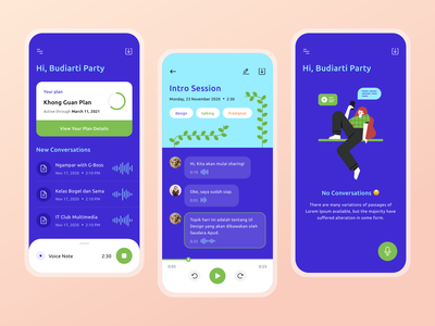 Bicit App - Voice Meeting Notes 😎 ui ux mobile ui ios error music audio productdesign mobile character conversation play meetings notes chat girl illustrations icons voice plant app