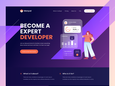 Monyud Website - Online learning Website 🤘 gradient character logo branding typography effect dashboard illustration learning learn desktop productdesign web design header landing page website
