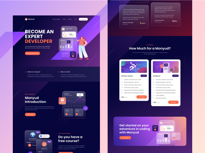 Monyud Website - Online learning Website 🤘 icon typography ui branding course courses study statistics laravel programmer learn productdesign website design illustration glass effect character gradient
