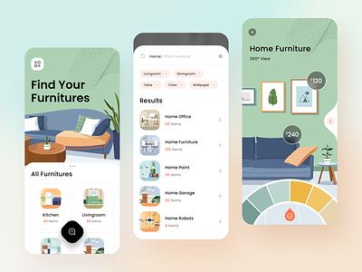Furniture App Design - Ecommerce bathroom office livingroom illustration colors ui mobile app product design application mobile