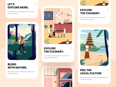 Activity - Card Illustrations 🏞 people holiday card nature culinary culture building beach bali eat restaurant shopping hiking activity holiday design character icon website ui illustration