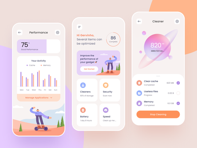 Cleaner App Design 🤘 typography gradient manage performance memory files setting ios cache battery speed security cleaner icon flat illustration application app design mobile
