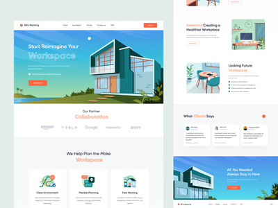 Co-working Landing Page - Exploration 👌 furniture gradient vector building custom icon illustrations house workspace collaborations work co-working coworking product page desktop website landing page