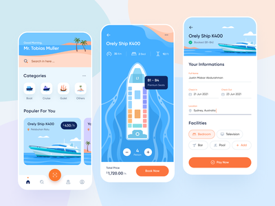 Cruise Booking App Design applications gulet date name form ticket booking vacation palm beach icons illustration boat ship cruise app design ios ui design mobile app