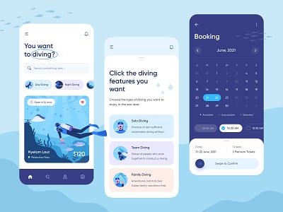 Diving App Design 😁 family diving team diving solo diving corrals time date character illustration booking calendar fish diving ocean sea water ios mobile app