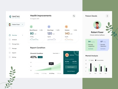Health Management Dashboard Design 💪 report surgery support management schedule heart liver asthma blood analytics clean chart plant icon illustration health web application desktop dashboard