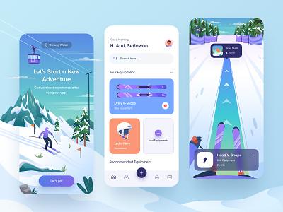 Ski Rental Mobile Design 👌 equipment helm virtual reality virtual booking rental snow snowboard ski mount character gradient icon illustration ux design ui design mobile app