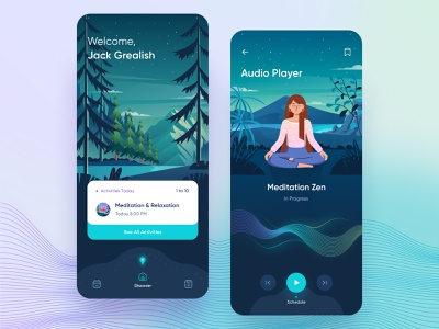 Meditation UI/UX App - illustration 🤘 mount trees night activity call discover relaxation landscape forrest icon gradient graphic design audio illustration yoga meditation ux design ui mobile mobile app