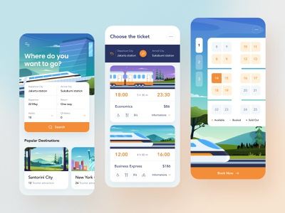 Train Booking Mobile App tickets city business express economy seat calendar ticket booking book train gradient illustration icons application ios design product design mobile app