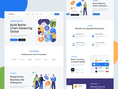 Blockchain Landing Page 🤑 company trading character business platform pricing usd cryptocurrency currency ethereum bitcoin data blockchain icons custom illustration illustration mobile desktop landing page website