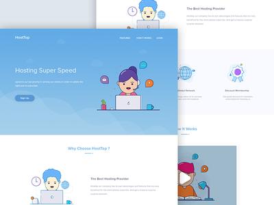 Hosting Landing Page better illustrator character clean hosting host landingpage landing website web