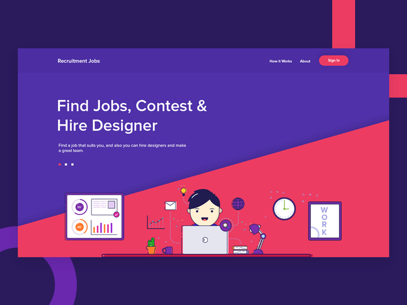 Recruitment Landing Page #2 ui music illustration graphic flatdesign flat design clean character webmockup website