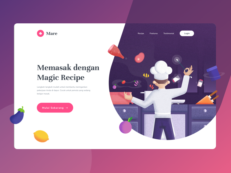Header Illustration for Cooking Class magic header noise illustrator brush illustration landing page cooking chef cook website