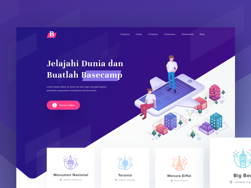 Basecamp Landing Page gradient basecamp website booking travel header illustration icon city landing page isometric