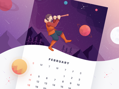 Illustration for 2018 calendar landscape inventor card print illustration telescope february gradient planet 2018 calendar
