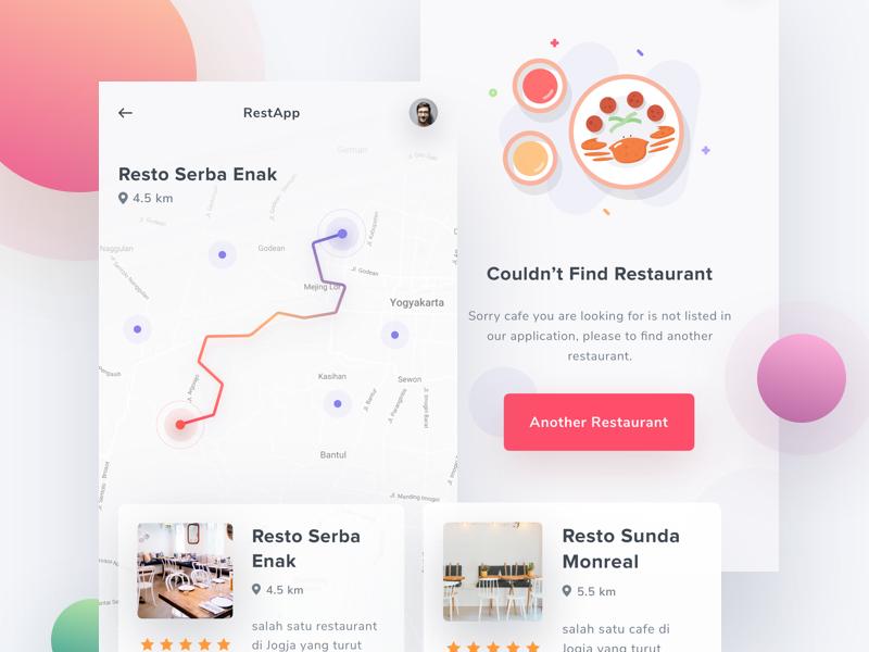Exploration - Find Restaurant maps location error illustration food interface ios saepul search find restaurant app
