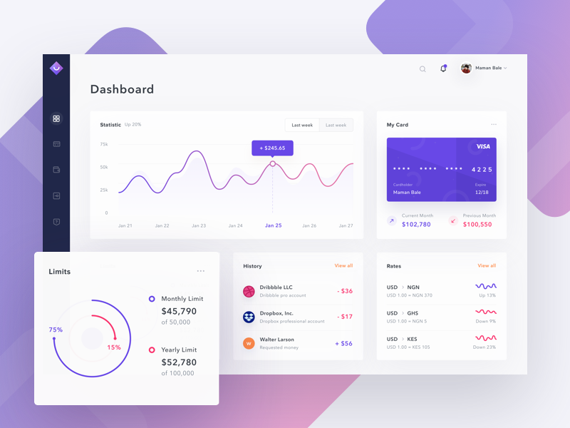 #Exploration - Dashboard Credit Card wallet transaction saepul gradient interface income finance credit card payment chart dashboard