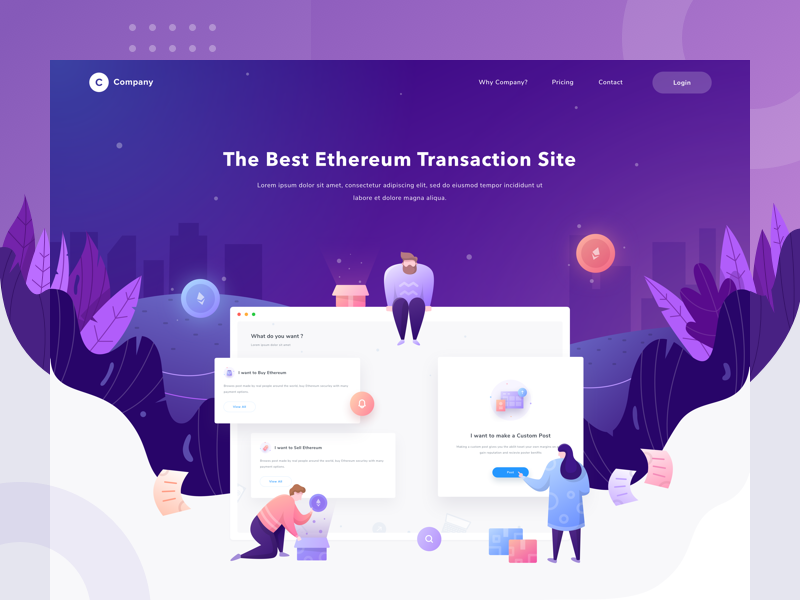 Company Landing Page - Exploration saepul ethereum buyer sales people gradient header dashboard illustration landing