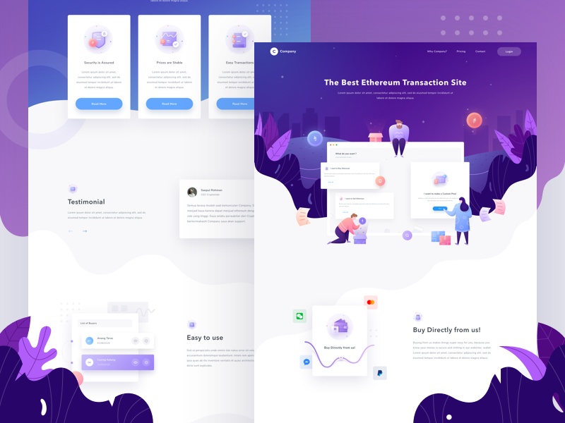 Company Landing Page sales saepul people landing illustration header gradient ethereum dashboard buyer