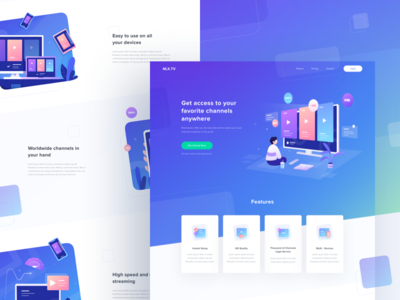 Landing Page online streaming tv character icon typography graphic design ui website illustration