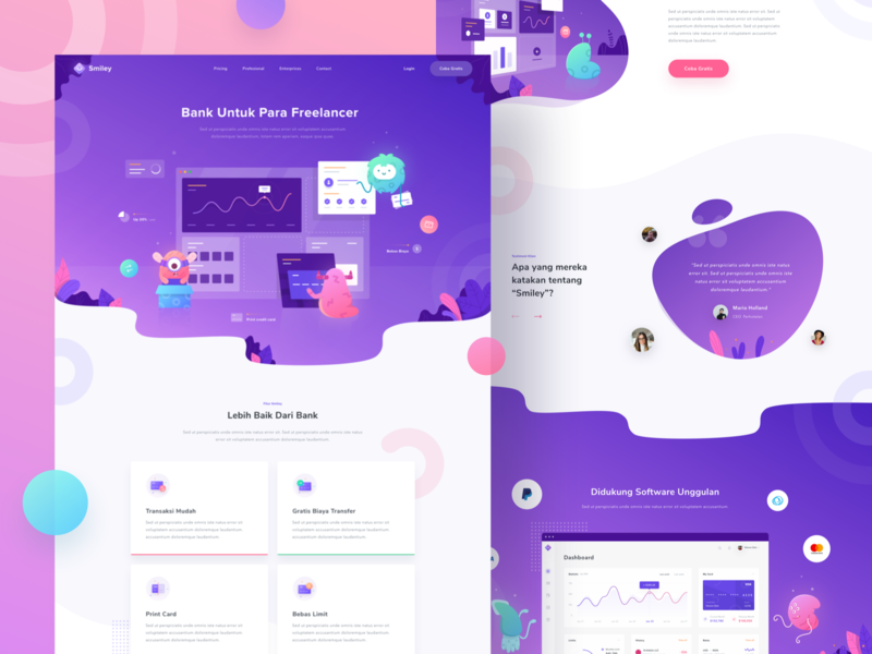 Financial Landing Page desktop gradient money credit card dashboard icon monster illustration bank financial landing page