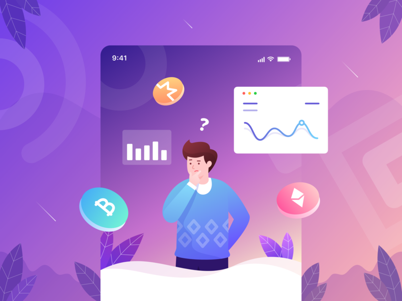 Onboarding Illustration graph onboarding ui onboarding ethereum bitcoin crypto wallet crypto currency color gradient character illustration