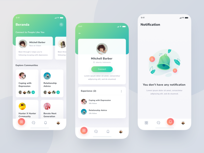 Community App - Exploration android people design icons card community ui clean typography gradient ios app illustration