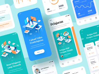 Lesson App widget icon card typography video chart graphic social people isometric courses uidesign learn lesson android ios ui app illustration
