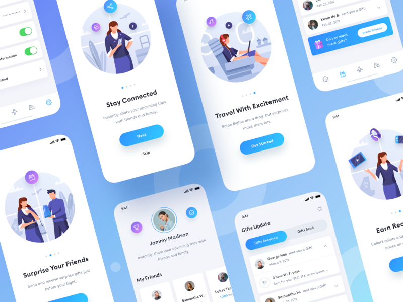 Flights App people music travel share prize dashboard gift flight plane icon app design clean gradient character ui illustration