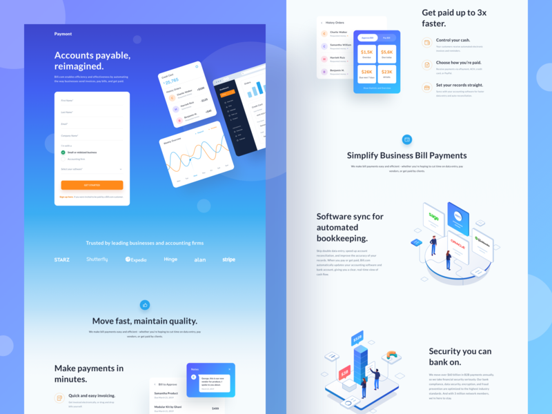 Landing Page chart dashboard people typography ui design gradient transaction wallet payment isometric card mobile app mobile website landing page illustration