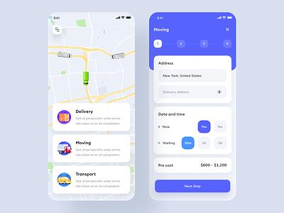 Delivery App UI trend clean maps schedule truck delivery truck send delivery android design app ui design uiux