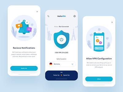 Hello VPN - App Design app design connect internet configuration flat design notification error onboarding mobile app illustration