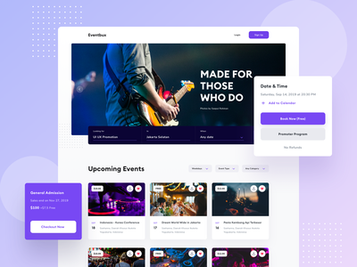 Event Landing Page events ux ui sketch website design homepage price music checkout buy ticket event landing page website