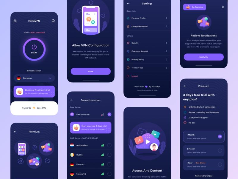Hello VPN - App Design animation typogaphy branding product design notification internet vpn icons onboarding illustration mobile app design application