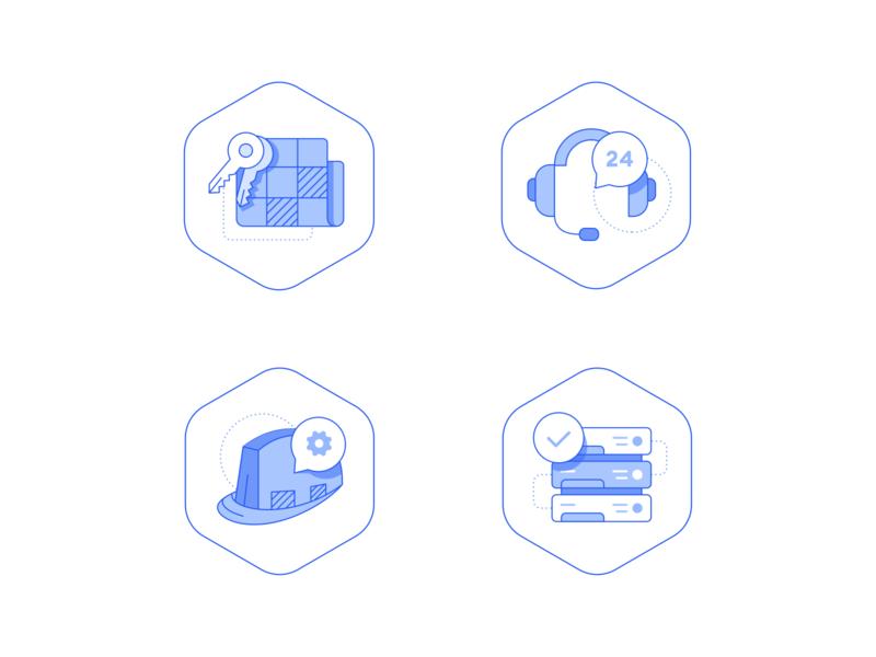Real Estate Icons outline website illustration internet worker headset support key realestate custom