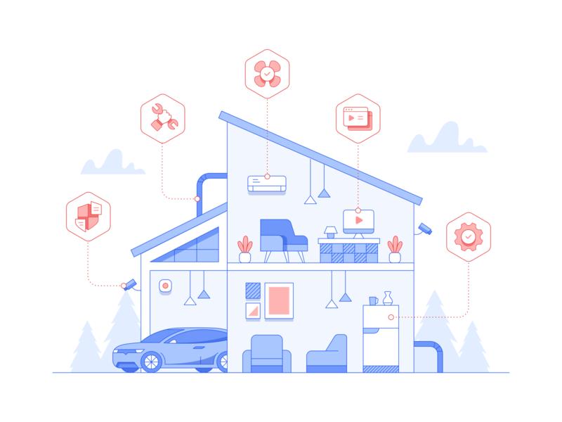Real Estate Illustration repair setting car ac cctv custom icon house home line outline website illustration